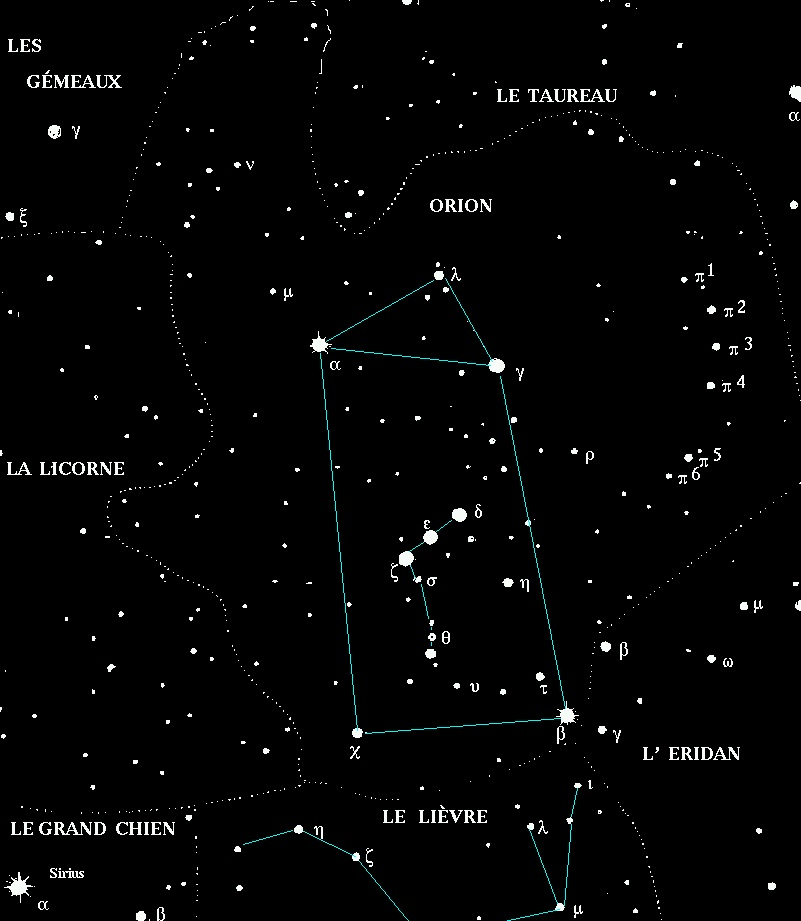 emplacement de la constellation d'Orion