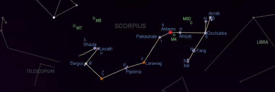 étoiles de la constellation du Scorpion
